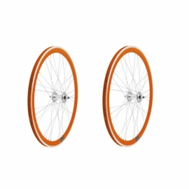 Set roti 622 Fixi orange fix/free pe rulmenti 4cm 9x4  - BikeCentral